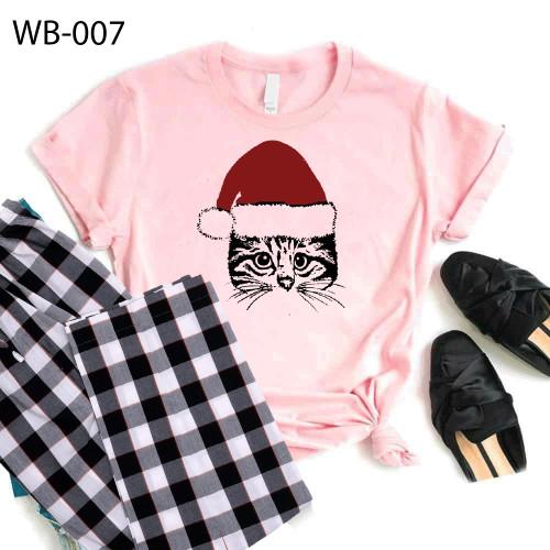 Bundle of Check Pajama & Pink Santa Cat T-Shirt For Women's