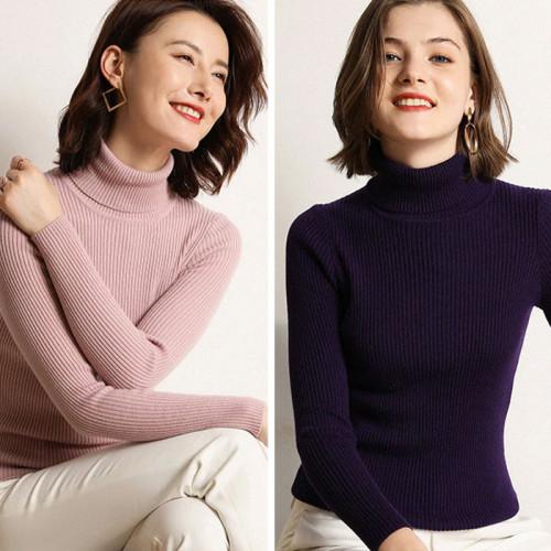 Bundle of 2 Purple & Light Pink High Neck Jumper For Women