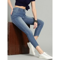 Women Blue Skinny Fit Mid-Rise Clean Look Stretchable Cropped Jeans