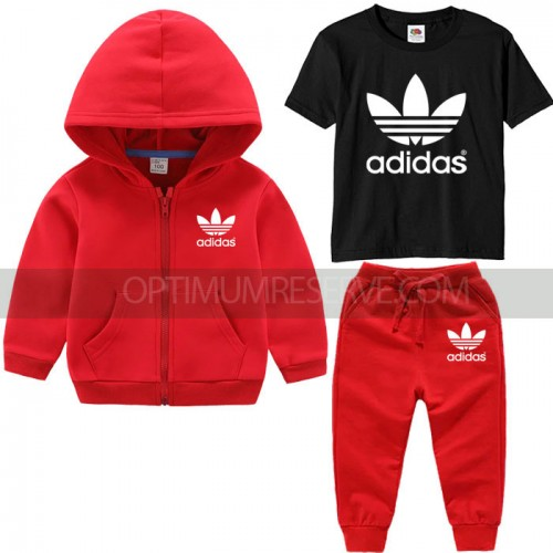 Red Ad Tracksuit With Black Tshirt For Kids