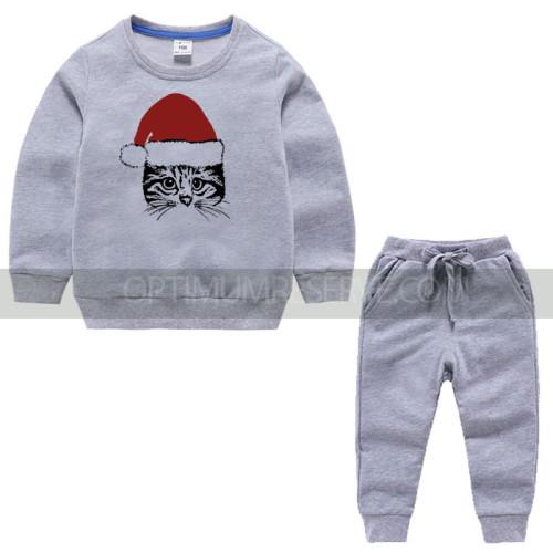 Gray Santa Cat Tracksuit For Kids