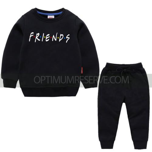 Black Friends Sweatshirt With Pajama For Kids
