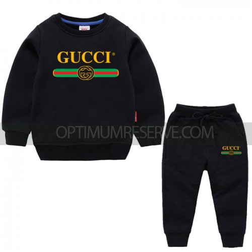 Black Gc Sweatshirt With Pajama For Kids