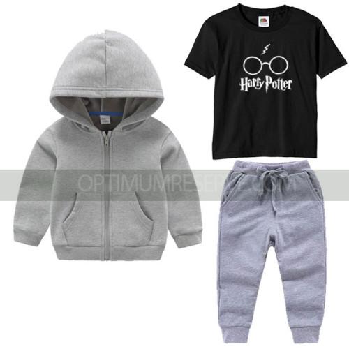 Grey Tracksuit Black Tshirt Hp Printed For Kids