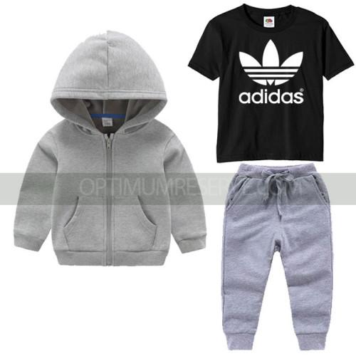 Grey Tracksuit Black Ad Printed Tshirt For Kids