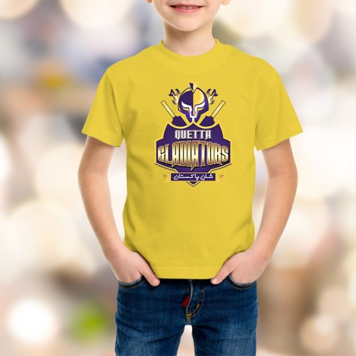 Quetta Gladiators Yellow Printed T-Shirt For Kids