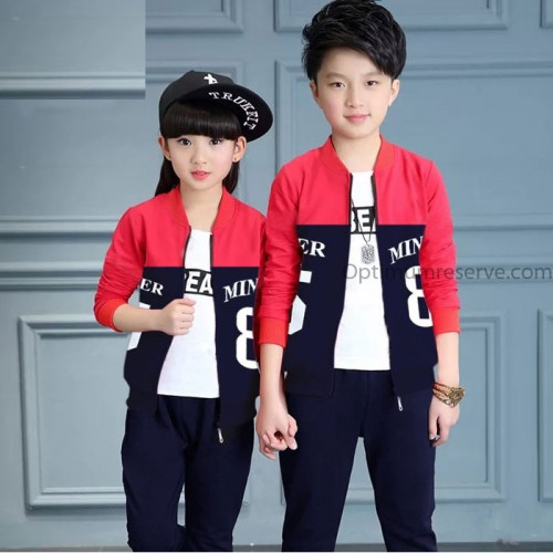 Stylish Red & Navy Blue Printed Tracksuit For Kids