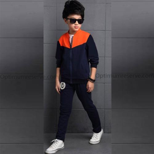 Navy Blue & Orange Best Quality Kid Tracksuit