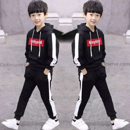 Moy Black Stylish Winter Tracksuit For Kids