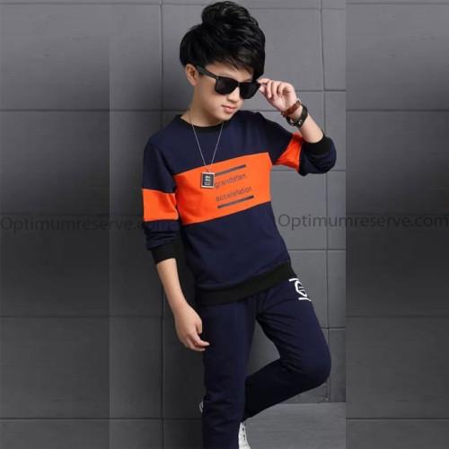 Orange & Navy Blue Contrast Winter Tracksuit For kids