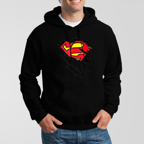 Black New Super Man Printed Exported Hoodie For Men's