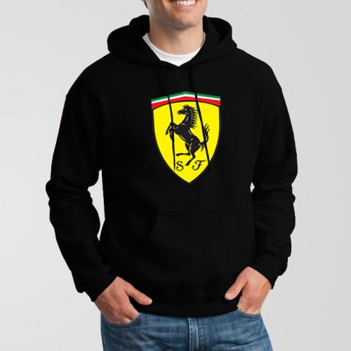 Black Ferrari Printed Exported Hoodie For Men's
