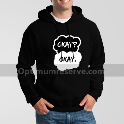 Black Okay Okay Printed Exported Hoodie For Men's