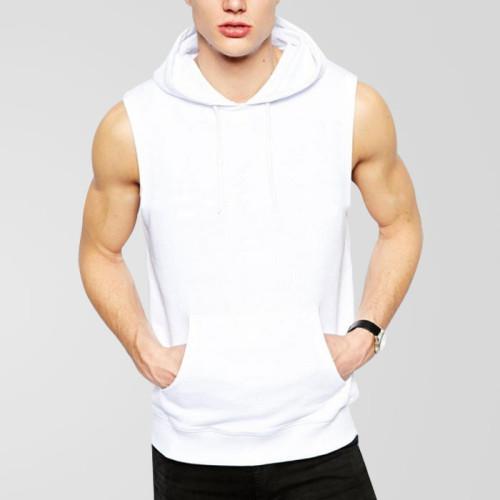 White Sleevesless Exported Hoodie For Men's