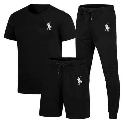 Polo Black Summer Tracksuit For Men's