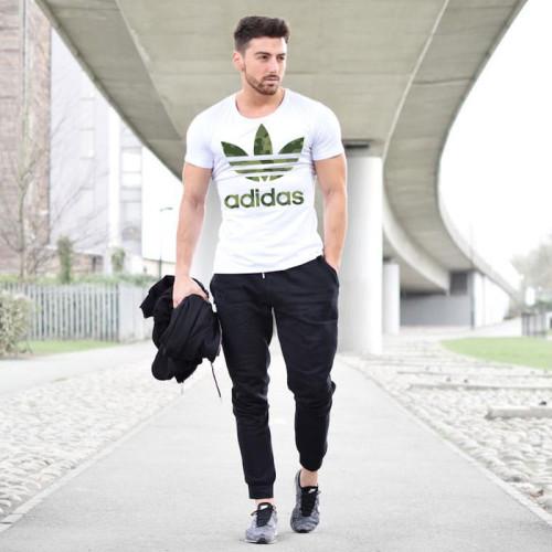 White New Ad T-Shirt & Trouser Summer Tracksuit For Men's