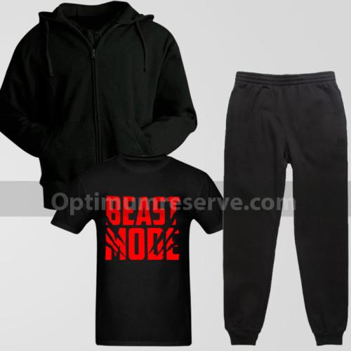 Black Track Suit With Beast ModeT-Shirt For Men's