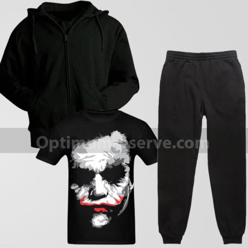 Black Track Suit With Joker T-Shirt For Men's