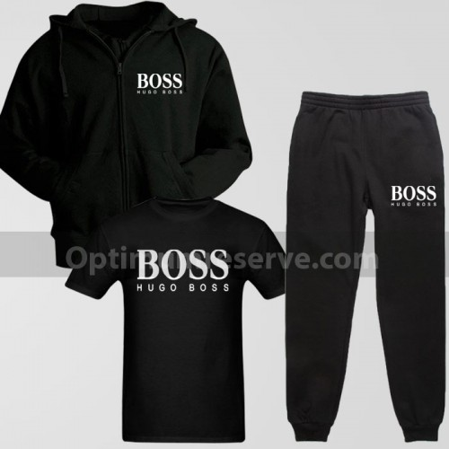 Black Boss Track Suit With T-Shirt For Men's