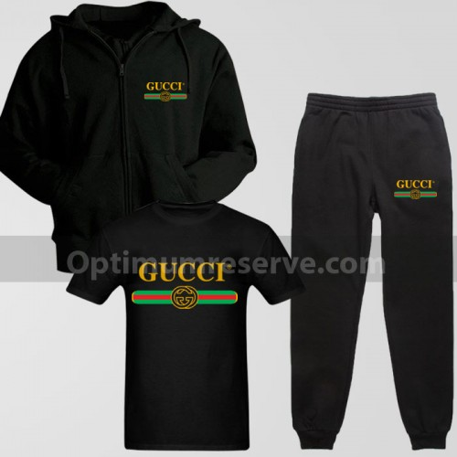 Black Gucci Track Suit With T-Shirt For Men's