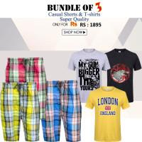 Bundle of 3 Casual Cotton Shorts & Printed T-Shirts