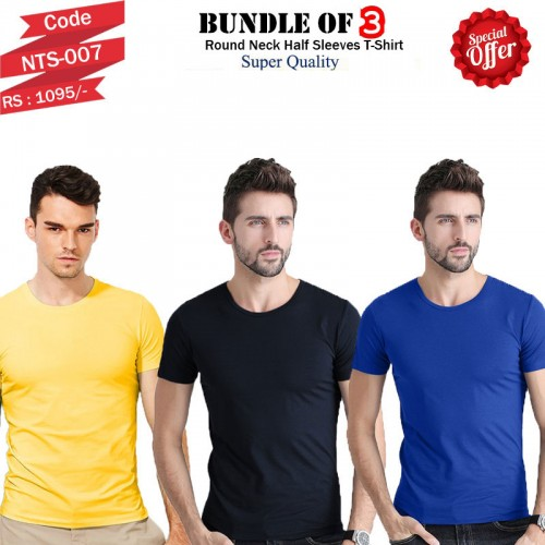 Bundle Of 3 Round Neck Basic T shirts