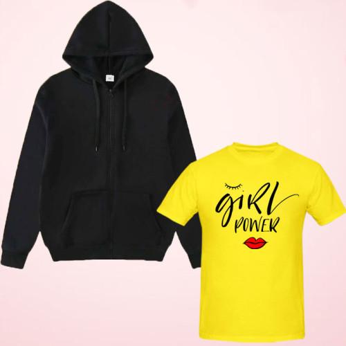 Girls Power yellow Printed T-Shirt with Zipper Hoodie