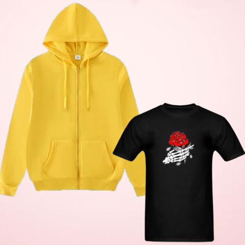 Rose Logo Black T-Shirt With Zipper Hoodie