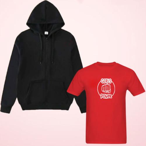 Girls Power Red T-Shirt With Black Zipper Hoodie