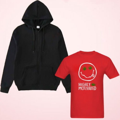 High-Quality Red T-Shirt With Black Zipper Hoodies