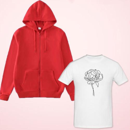 Flower Design White T-Shirt with Red Zipper Hoodies