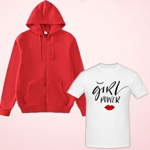 Girls Power White Printed T-Shirt With Red Zipper Hoodie