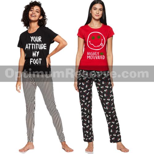 Bundle Of 2 Printed T-shirt & Pajama D1 For Women's