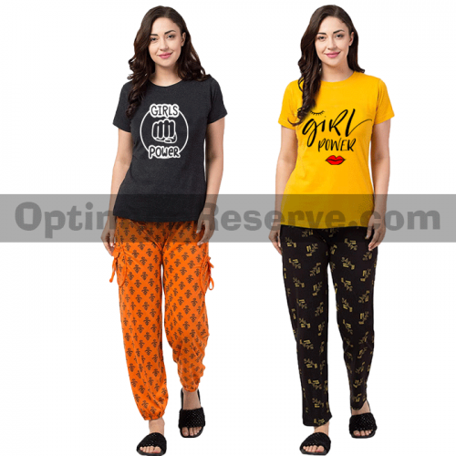 Bundle Of 2 Printed T-shirt & Pajama D6 For Women's