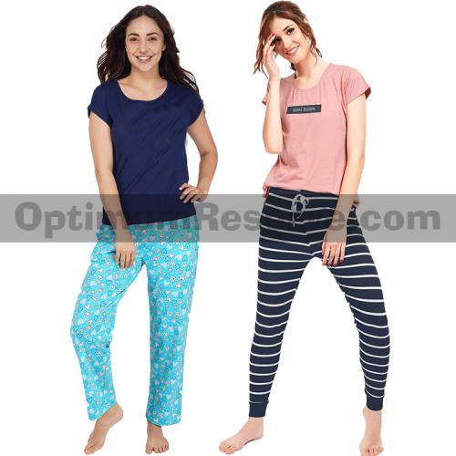 Bundle Of 2 Printed T-shirt & Pajama D8 For Women's
