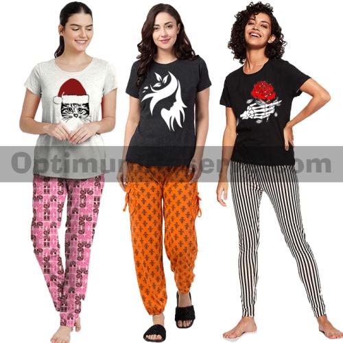 Bundle Of 3 Printed T-shirt & Pajama D17 For Women's