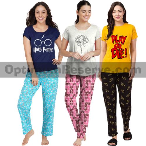 Bundle Of 3 Printed T-shirt & Pajama D18 For Women's