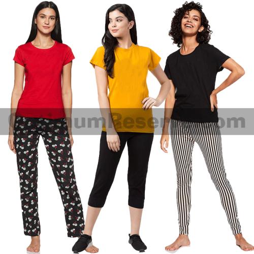 Bundle Of 3 Printed T-shirt & Pajama D19 For Women's