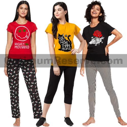 Bundle Of 3 Printed T-shirt & Pajama D15 For Women's