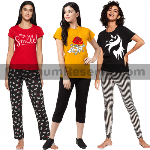 Bundle Of 3 Printed T-shirt & Pajama D20 For Women's