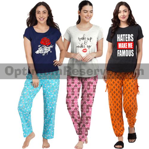 Bundle Of 3 Printed T-shirt & Pajama D22 For Women's