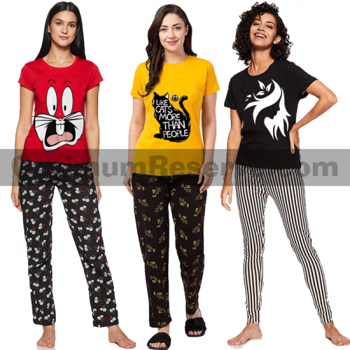 Bundle Of 3 Printed T-shirt & Pajama D21 For Women's
