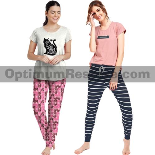 Bundle Of 2 Printed T-shirt & Pajama D11 For Women's