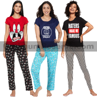 Bundle Of 3 Printed T-shirt & Pajama D23 For Women's