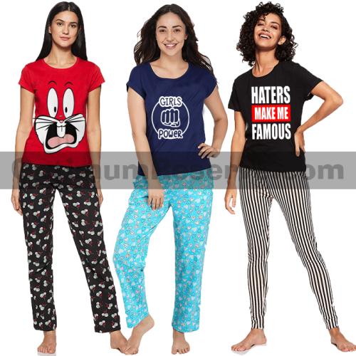 Bundle Of 3 Printed T-shirt & Pajama D23 For Women's
