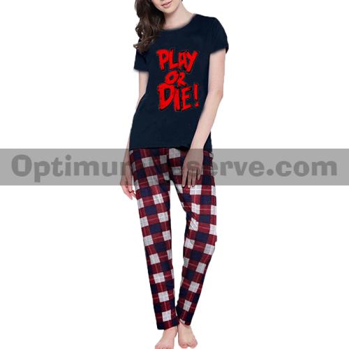 Printed T-shirt & Pajama D24 For Women's