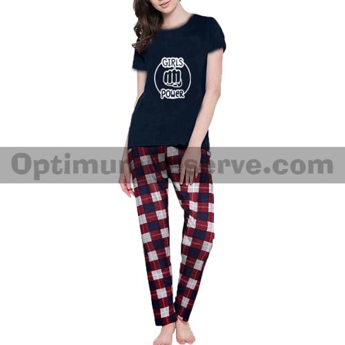 Printed T-shirt & Pajama D25 For Women's