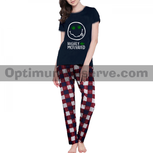 Printed T-shirt & Pajama D26 For Women's