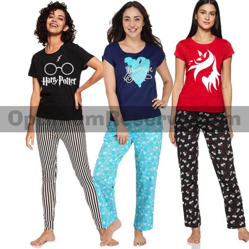 Bundle Of 3 Printed T-shirt & Pajama D12 For Women's