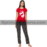 Printed T-shirt & Pajama D31 For Women's
